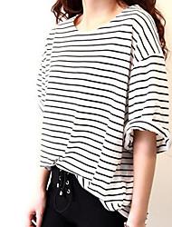 Plue Taille Stripe Rouleau pour femmes Cuff T-shirts