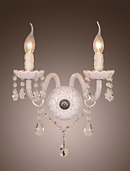 Crystal Wall Light with 2 Lights in Candle Bulb