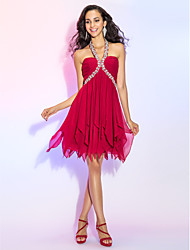 TS Couture® Cocktail Party / Prom Dress - Burgundy Plus Sizes / Petite A-line / Princess Halter Short/Mini Chiffon