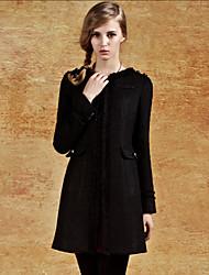 CJELLY Dames V-hals Tweed Mantel