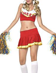 Sweet Girl Branco e vermelho do traje do líder da claque Terylene (2 peças)