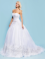 Lanting Ball Gown Plus Sizes Wedding Dress - White Court Train Sweetheart Organza