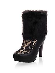 Increíble cuero del talón de estilete botas de tobillo con la piel y encaje zapatos de fiesta / noche (más colores)
