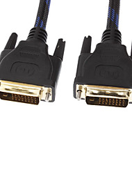 Masculino DVI para cabo masculino com 2 núcleos Net-Plated Black & Blue (5M)