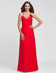 Lanting Floor-length Chiffon Bridesmaid Dress - Ruby Plus Sizes / Petite Sheath/Column Halter / V-neck
