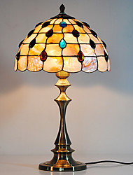 40W Retro Warm Table Lamp With Natural Shell Shade And Vertical Pole-Patterned With Roses
