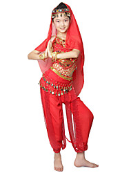 Rendimiento Dancewear gasa con monedas y rebordear Belly Dance Outfits For Children (más colores)