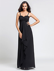 Lanting Floor-length Chiffon Bridesmaid Dress - Black Plus Sizes / Petite Sheath/Column Spaghetti Straps / Sweetheart