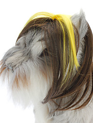 Fashion Style Heat Resistant Fiber Hair Clip Colorful Wig for Dogs (Brown and Yellow)