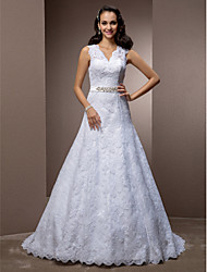 Lanting A-line/Princess Plus Sizes Wedding Dress - White Court Train V-neck Lace