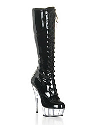 Black High Gloss PU cuir 4.5cm 14.5cm Plate-forme de talon stylet Knee High Boots