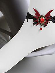 swllowtail borboleta preta rendas gothic lolita tornozeleira