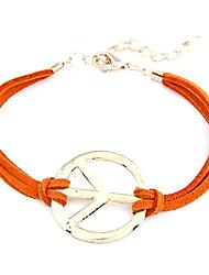 pulseira de metal eruner®unique couro sympol paz (cores aleatórias)