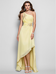 A-Line Princess One Shoulder Asymmetrical Chiffon Prom Formal Evening Dress with Beading Appliques Side Draping Ruching by TS Couture®