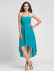 Lanting Bride Knee-length / Asymmetrical Chiffon Bridesmaid Dress A-line / Princess Halter Plus Size / Petite with Draping