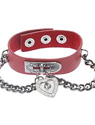 Red Punk Love Lock Bracelet en cuir Bracelet