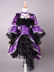 3/4-Length Sleeve Short Purple and Black Satin Gothic Lolita Dress
