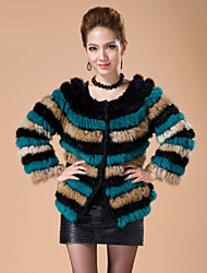 Long Sleeve Collarless Rabbit Fur Casual/Party Jacket