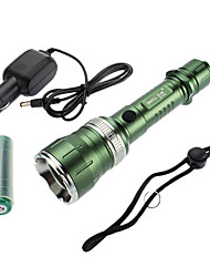 Samllsun регулируемый фокус Водонепроницаемый перезарядки 5-Mode Cree T6 светодиодный фонарик ZY-T35 (350LM, 2x18650, зеленый)