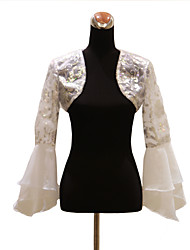 Wedding  Wraps Coats/Jackets Long Sleeve Organza White Wedding / Party/Evening / Casual Bell Sleeves Sequin Open Front