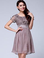 Women's Round Dresses , Chiffon/Organza/Polyester Casual/Work Short Sleeve ZIMMUR