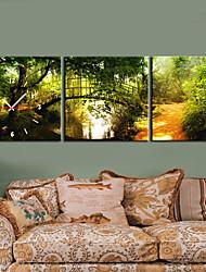 Modern Style Bridge Wall Clock in Canvas 3pcs