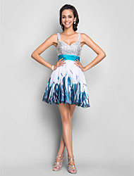 Cocktail Party / Homecoming / Prom / Sweet 16 Dress - Print Plus Sizes / Petite A-line / Princess Straps Short/Mini Chiffon / Sequined