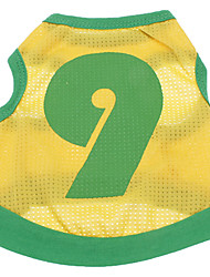 Dog Shirt / T-Shirt / Jersey Yellow Dog Clothes Summer Letter & Number Cosplay