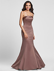 Floor-length Satin Bridesmaid Dress - Lace-up Trumpet / Mermaid Strapless Plus Size / Petite with Side Draping