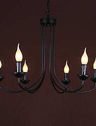60W*6 Simple Style Of Up Lighting Chandelier With 6 Light And Candle Shade