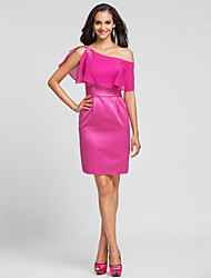 Knee-length Satin / Chiffon Bridesmaid Dress - Fuchsia Plus Sizes / Petite Sheath/Column One Shoulder / Spaghetti Straps