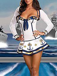 Sexy Girl azul escuro e branco Terylene Naval Uniforme (3 peças)