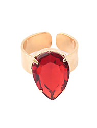 Gold Plated Alloy Zircon Waterdrop Pattern Opening Ring (Assorted Colors)