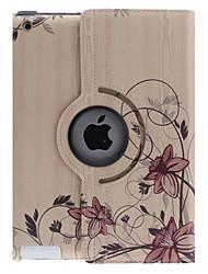Geschwungene Blume Vine Muster 360 Grad drehbar PU-Leder Ganzkörper-Case mit Ständer für iPad 2/3/4