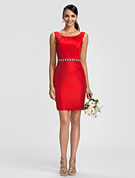 Dress - Ruby Sheath/Column Scoop Knee-length Taffeta