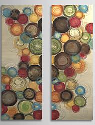 Peint à la main Peinture à l'huile abstraite avec cadre étiré Lot de 2 1308-AB0712