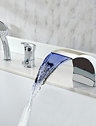 Chrome Finish multicolor LED Contemporáneo Tubfaucet cascada generalizada con ducha de mano