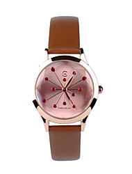 TIME CIRCLE Twinkle Stars Fashionable Classic Stylish Leather Style Band Quartz Analog Wrist Watch