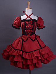 Short Sleeve Knee-length Wine Red Cotton Black Trim Gothic Lolita Dress