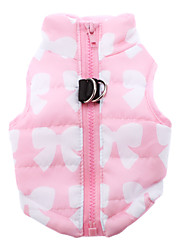 Cat Dog Coat Vest Dog Clothes Keep Warm Bowknot Yellow Rose Green Blue Blushing Pink