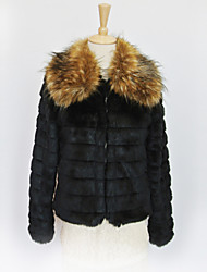 Thick Long Sleeve Big Turndown Collar Faux Fur Party/Casual Jacket