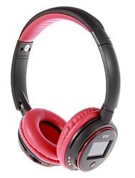 MP3 FM On-Ear fone de ouvido Bluetooth com microfone, slot para cartão TF, Tela LCD (vermelho, preto)