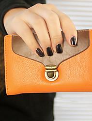 Vintage Contrast Color Brass Hasp Medium Wallet