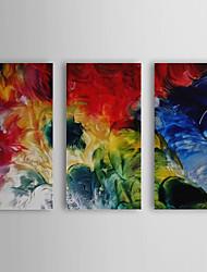 Peint à la main Peinture à l'huile abstraite avec cadre étiré Ensemble de 3 1308-AB0727