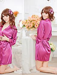 Purple Satin Bathrobe Sexy Lady Nightwear