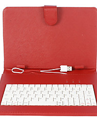 9 Inch Mesh Stripe Pattern PU Leather Case with USB Keyboard and Stand