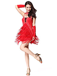 Performance Dancewear Polyester With Tassels And Rhinestone Latin Dance Dress for Ladies (More Colors)
