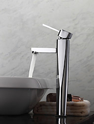 Contemporary Brass Bathroom Sink Faucet - Chrome Finish (Tall)