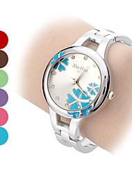 Damen Modeuhr Armband-Uhr Quartz Band Blume Armreif Silber Marke