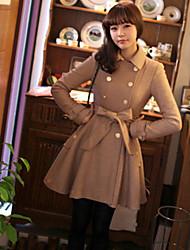 Damen Solide Trenchcoat,Sommer Langarm Schwarz / Braun Dünn Wolle / Polyester